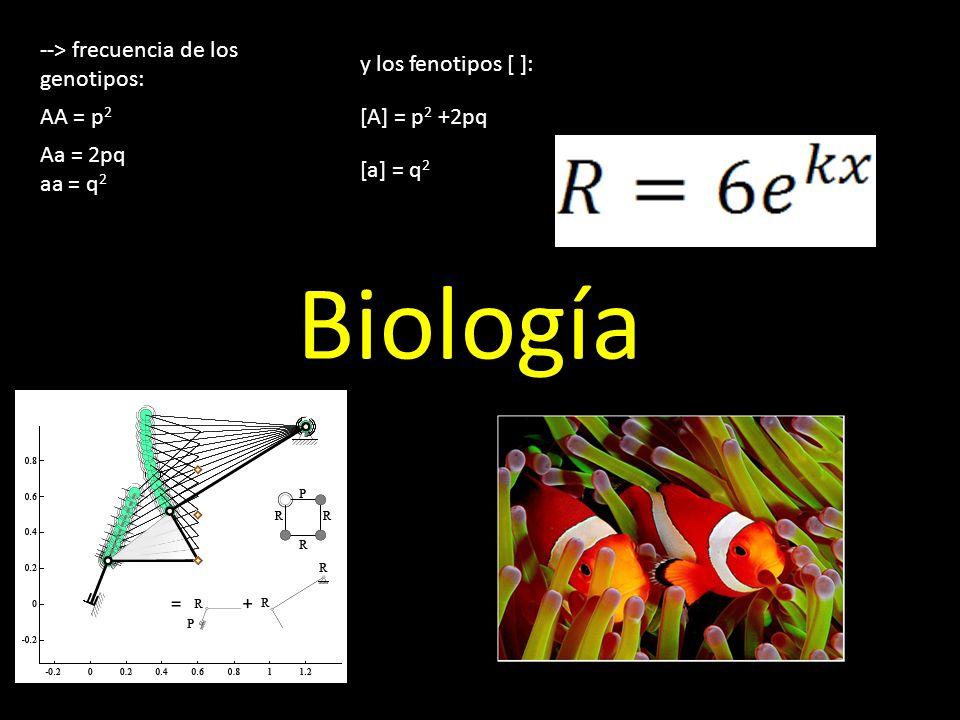 Biología --> frecuencia de los genotipos: y los fenotipos [ ]: